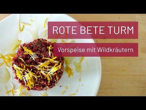Rote Bete Vorspeise mit Wildkräutern (roh&vegan)